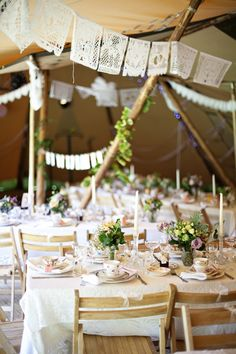 lace doilies strung as pennants