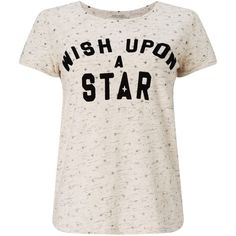 Maison Scotch Slogan T-Shirt, Ecru Melange ($60) ❤ liked on Polyvore featuring tops, t-shirts, shirts, tees, cotton shirts, summer shirts, pink shirts, short sleeve tee and pattern t shirt