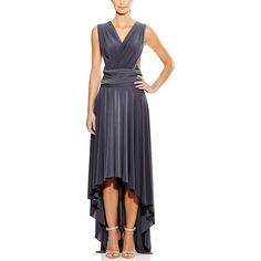 Von Ronen Women's High Low Maxi Dress Convertible Cocktail Gown... ($90) ❤ liked on Polyvore featuring dresses, grey, cocktail maxi dresses, maxi dresses, bridesmaid dresses, formal cocktail dresses and strapless maxi dress