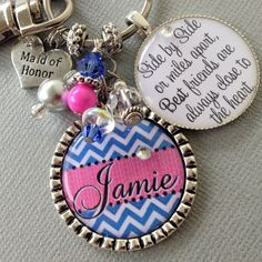 BRIDESMAID gift Personalized Maid of honor  Chevron by buttonit, $25.50