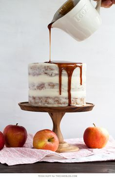 Apple & Goat Cheese Cake - fresh apple cake with goat cheese frosting and cinnamon caramel glaze | by Tessa Huff for TheCakeBlog.com