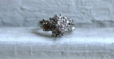 Retro Vintage 18K White Gold Diamond Cluster by GoldAdore on Etsy