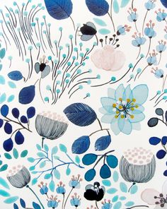 Pretty blue floral motif by Anna Emilia (via Lushlee) #AnnaEmilia #floral #blue