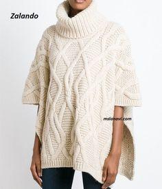 Вязаное пончо аранами из Zalando - СХЕМЫ http://mslanavi.com/2016/08/vyazanoe-poncho-krasivymi-aranami-iz-zalando/