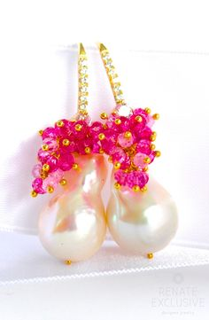 "Luxury Giant Baroque Pearl Earrings with gemstone ""Baroque Beauty"" - Handmade Jewelry - Renate Exclusive - 1"