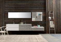 meuble double vasque à façades blanc/bois, muni de tiroirs et un tiroir bas