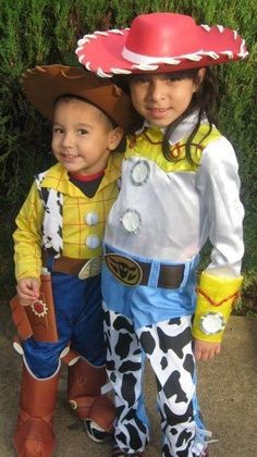 Halloween costumes for brother and sister. Woody and Jesse from Toy Story
