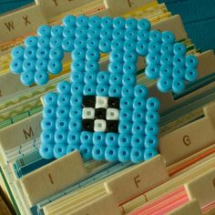 BLUE PHONE brooch - Hama beads by milk tooth's rain, via Flickr
