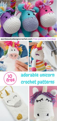 crochet flowers ideas - This week we have 10 adorable unicorn crochet patterns in our free pattern roundup. My children still adore unicorns but everywhere I look I see Llamas. Do you think crocheted Llamas or crocheted. Crochet Puff Flower, Crochet Flower Patterns, Crochet Patterns Amigurumi, Crochet Dolls, Crochet Flowers, Crochet Unicorn Pattern Free, Crocheted Toys, Knit Patterns, Crochet Ideas