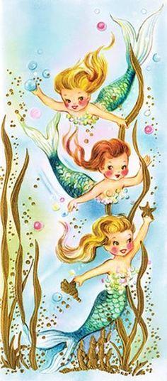 Vintage mermaid illustration More Mermaid Kids, Mermaid Fairy, Mermaid Under The Sea, Mermaid Room, Mermaid Tale, The Little Mermaid, Manga Mermaid, Pretty Mermaids, Mermaids And Mermen