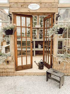 How I Built my Dream Greenhouse - Arrows & Twine Diy Greenhouse Plans, Outdoor Greenhouse, Backyard Greenhouse, Backyard Sheds, Backyard Landscaping, Farmhouse Greenhouses, Farmhouse Garden, Farmhouse Style, Modern Farmhouse