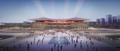 Zaha Hadid Architects unveils Xi'an International Football Centre South Facing Garden, China Image, International Football, Roof Structure, Zaha Hadid Architects, Football Stadiums, Architect Design, Architecture Details, Public Architecture