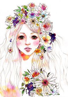 flower girl    制作環境      pen&color ink