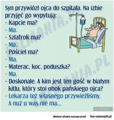 Szpital_izba przyjęć Weekend Humor, Good Jokes, Poetry, Lol, Memes, Funny, Quotes, Films, Wallpapers