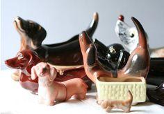 vintage doxie ceramics - ogle worthy!