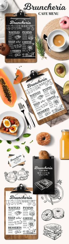 Brunch menu, restaurant template  by BarcelonaShop on @creativemarket