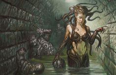 Magic the Gathering - Korozda Gorgon Comic Art Dark Sombre, Mythological Creatures, Fantasy Creatures, Mythical Creatures, Female Demons, Medusa Gorgon, Mtg Art, Kobold, Thing 1