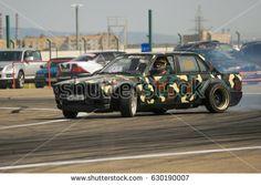 22.04.2017 Rustavi, Georgia. Rustavi international motorpark. Georgian Drift Series 2017 First Stage. Military Camouflage Painted BMW E30 Drift.