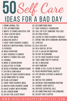 50 Self Care Ideas for a bad day (free printable)! Take care of your mental health with these easy self-care activities and self-care tips to make you feel better. Helpful things to do for women to take care of their mind, body, and soul. Vie Motivation, Home Storage Solutions, Self Care Activities, Mental Health Activities, Wellness Activities, Free Activities, Self Improvement Tips, Self Care Routine, Wellness Tips