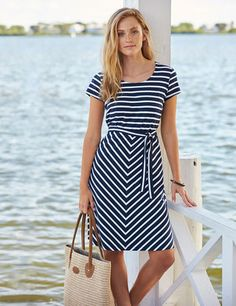 c304fd0dcacf L.L.Bean Nautical Stripe Dress, made of soft-knit cotton with a touch of