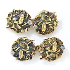 Art Nouveau Plique-a-Jour and Diamond Frog Cuff Links