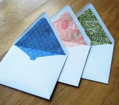DIY paper lined envelopes - affordable way to jazz up your correspondence.