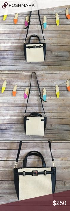 """Kate spade crossbody A beautiful small tote made of straw and black leather, black leather fual tote handles drops about 5"""" ,has a removable adjustable body strap 21"""" , signature dark pink lining, zipper pocket and slip pockets. 8.5"""" x 9.5"""" x 5""""💯 authentic, no trades kate spade Bags Crossbody Bags"""