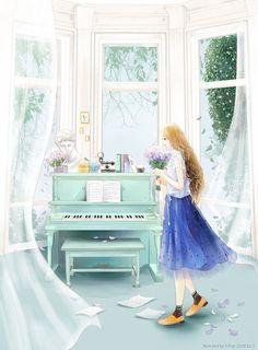 花火杂志彩版封面版本1-E.Pcat_E.Pcat,花火杂志,彩版,少女,钢琴_涂鸦王国插画