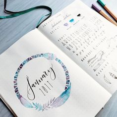 """1,837 Likes, 37 Comments - Roz • bullet journal•studygram (@rozmakesplans) on Instagram: """"Zoom in on my January cover page. I accidentally smeared one of the feathers when it was still wet,…"""""""