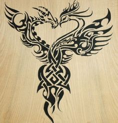 phoenix and dragon - phoenix represents beauty, good luck & female energy. dragon represents creativity, good fortune & male energy. yin & yang. They symbolize the union of opposites.