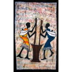 African candle wax batik, Lovely framed or unframed, easy care, Cotton Art Pieces, African, Batik, Enamel Paint, Wall Art, African Wall Art, Painting, Oil Painting, Art