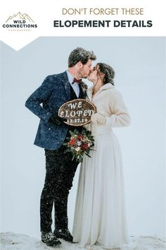 Don't forget these elopement details - like a sign announcing your elopement Winter Wedding Inspiration, Elopement Inspiration, Wedding Ideas, Wedding Photos, Wedding Planning, Elopement Wedding Dresses, Winter Wonderland Wedding, Lodge Wedding, Intimate Weddings