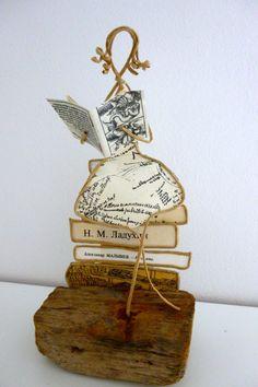 La lectrice - figurine en ficelle et papier