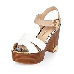 Pink wood effect heel platform sandals - heels - shoes / boots - women