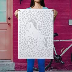 unicorn coloring poster - awesome DIY decor - dorm room wall art - large unicorn coloring page - beautiful unicorn poster - large unicorn by AnnaGrundulsDesign