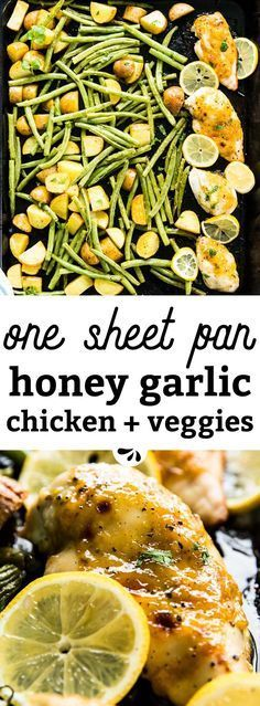 This baked honey garlic chicken is an easy to make weeknight dinner, complete with green bean and potato sides on one sheet pan. Quick prep, minimal clean up and healthy ingredients turn a square meal with veggies into a simple and effortless meal. Easy Chicken Recipes, Healthy Dinner Recipes, Recipe Chicken, Shrimp Recipes, Baked Honey Garlic Chicken, Baked Chicken, Green Beans And Potatoes, Potato Sides, Paleo Dinner
