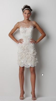 BRIDE: This could be a cute reception dress.  Not as crowded a fabric, maybe just dupioni silk or similar with the mesh top.  Perfect shape/length