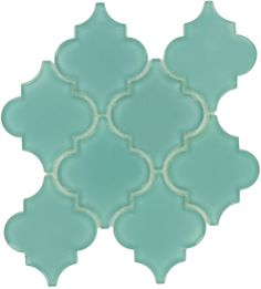 Pacific Tile Company Water Jet Glass Series, Arabesque, Teal, Glossy, Blue, Glass
