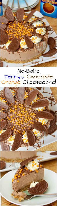 No-Bake Terry's Chocolate Orange Cheesecake! ❤️ Deliciously creamy No-Ba… No-Bake Terry's Chocolate Orange Cheesecake! ❤️ Deliciously creamy No-Bake Terry's Chocolate Orange Cheesecake perfect for Dessert and an Afternoon Treat! No Bake Desserts, Just Desserts, Delicious Desserts, Dessert Recipes, Yummy Food, Chocolate Orange Cheesecake, Chocolate Orange Cookies, Chocolate Oreo, Chocolate Curls