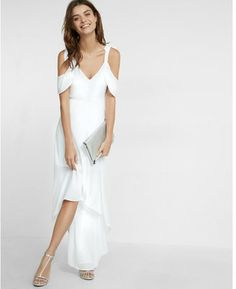 EXPRESS COLD SHOULDER MAXI DRESS A Floor-sweeping Silhouette With Easy Wearability And A Touch Of Elegance. The Graceful Flowing Shape Moves Beautifully With Each Step, While Cold Shoulder Sleeves Make It Flirty And Fun. Glam It Up With A Few Jewels For A Stunning Bridesmaid Look.