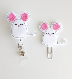 Mouse Felt Paperclip | Badge Reel | ID Badge | Felt Badge | Badge Holder | Lanyard | Planner Clip | Planner Accessories | Mouse Bookmark