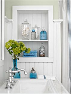 Install trim around shelves placed between wall studs. A great way to find extra space in a small room! | Better Homes and Gardens