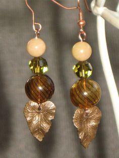 Vintage Style Glass and Copper Earrings