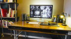 London-based portrait photographer Tom Barnes has built himself one impressive, massive desk. It's as functional and clutter-free as it is unique.