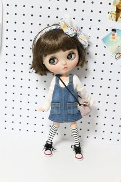 Sweet Doll Girl T-shirt Suspender Dress w//Pocket for 12/'/' Blythe Azone Doll