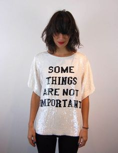 Slogan sequin tshirt x