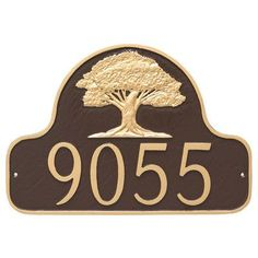 Montague Metal Products Oak Tree Arch Address Plaque Finish: White/Gold