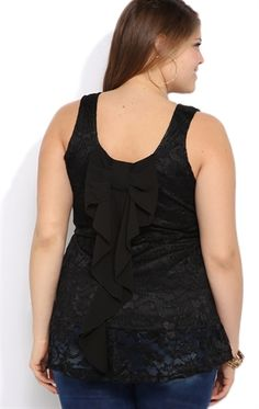 Plus Size Lace Peplum Tank with High Low Hem and Bow Back