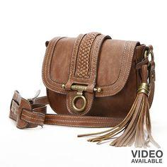 Chaps Tassel and Woven Mini Crossbody Bag