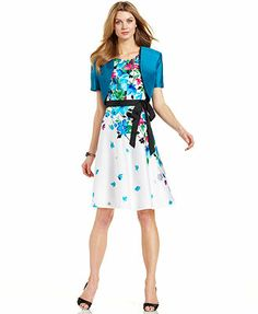 R&M Richards Floral-Print Belted Dress and Jacket
